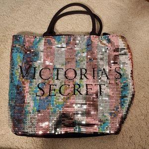 Victoria's Secret Bags - 2/$20 Victoria Secret VS sequins large tote w/ zip